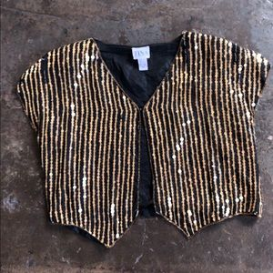 Gold sequin New Years vintage shirt